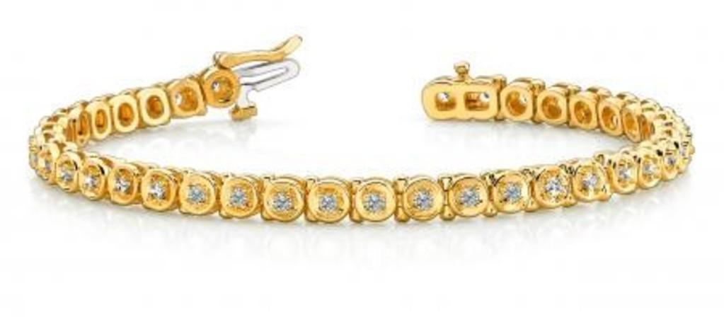 14K YELLOW GOLD 1 CTW G-H I1/I2 CIRCLE LINK DIAMOND TENNIS BRACELET