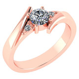 Certified 0.48 Ctw Diamond 14k Rose Gold Ring (VS/SI1)