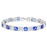 12.05 CT CREATED SAPPHIRE AND 12.05 CT CREATED WHITE SAPPHIRE 925 STERLING SILVER TENNIS BRACELET IN