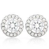 CLASSY 2 1/3 CTW (34 PCS) FLAWLESS CREATED DIAMOND .925 STERLING SILVER EARRINGS