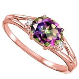 0.39 CARAT RAINBOW MYSTIC QUARTZ & 0.02 CTW DIAMOND 10KT SOLID RED GOLD RING