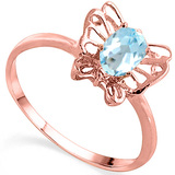 0.51 CT SKY BLUE TOPAZ AND ACCENT DIAMOND 0.005 CT 10KT SOLID RED GOLD RING