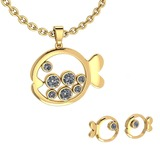 Certified 1.11 Ctw Diamond VS/SI1 Fish Necklace + Earrings Set 14K Yellow Gold