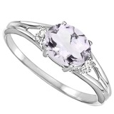 0.41 CARAT PINK AMETHYST & 0.02 CTW DIAMOND 10KT SOLID WHITE GOLD RING