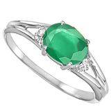 0.43 CARAT EMERALD & 0.02 CTW DIAMOND 10KT SOLID WHITE GOLD RING