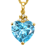 0.8 CTW SKY BLUE TOPAZ 10K SOLID YELLOW GOLD HEART SHAPE PENDANT WITH ANCENT DIAMONDS