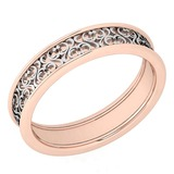 Stunning Filigree Engagement Band 18K Rose And White Gold MADE IN ITALY