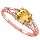 0.43 CARAT CITRINE & 0.02 CTW DIAMOND 10KT SOLID RED GOLD RING