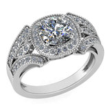 Certified 1.58 Ctw Diamond Wedding/Engagement Style 14K White Gold Halo Ring (SI2/I1)