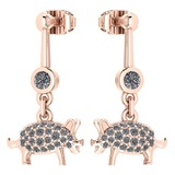 Certified 0.39 Ctw Diamond VS/SI1 Chinese Pig Earring 14K Rose Gold