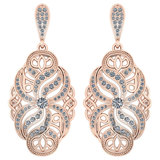 Certified 1.18 Ctw Diamond Wedding/Engagement Style 14K Rose Gold Halo Hanging Earrings (SI2/I1)