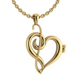 Gold Heart Shape Pendant 14K Yellow Gold Made In Italy