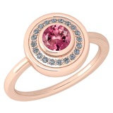 Certified 0.62 Ctw Pink Tourmaline And Diamond Ladies Fashion Halo Ring 14k Rose Gold (VS/SI1) MADE