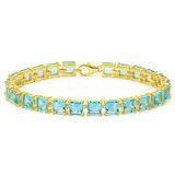 24.1 CT CREATED SKY BLUE TOPAZ 925 STERLING SILVER TENNIS BRACELET WITH GOLD PLATED IN SQUARE SHAPE