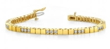 14K YELLOW GOLD 1 CTW G-H I1/I2 DIAMOND BUILDING BLOCK TENNIS BRACELET