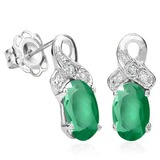 4/5 CTW EMERALD & DIAMOND .925 STERLING SILVER EARRINGS
