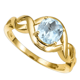 0.68 CT AQUAMARINE 10KT SOLID YELLOW GOLD RING