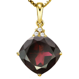 1.28 CTW GARNET 10K SOLID YELLOW GOLD CUSHION SHAPE PENDANT WITH ANCENT DIAMONDS