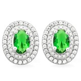 STUNNING 2 CTW CREATED EMERALD & FLAWLESS CREATED DIAMOND .925 STERLING SILVER EARRINGS
