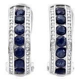2.25 CT SAPPHIRE & DIAMOND .925 STERLING SILVER HOOP EARRINGS
