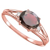 0.66 CARAT GARNET & 0.02 CTW DIAMOND 10KT SOLID RED GOLD RING