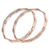 Certified 5.71 Ctw Diamond VS/SI1 Bangles 14K Rose Gold Made In USA