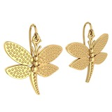 Gold Butterfly Wire Hook Earrings 18K Yellow Gold Made In Italy