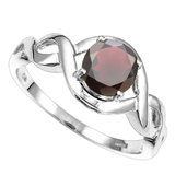 0.89 CT REDDISH GARNET 10KT SOLID WHITE GOLD RING