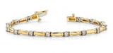 14K YELLOW GOLD 1 CTW G-H I1/I2 SHINY COLUMN LINK DIAMOND BRACELET
