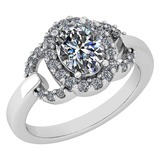 Certified 1.63 Ctw Diamond VS/SI1 Halo Ring For 14K White Gold