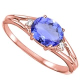 0.52 CARAT EGYPT BLUE TANZANITE & 0.02 CTW DIAMOND 10KT SOLID RED GOLD RING