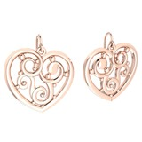 Gold Heart Shape Stud Earrings 18k Rose Gold MADE IN ITALY