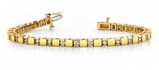14K YELLOW GOLD 1 CTW G-H I1/I2 ALTERNATING DIAMOND BLOCK TENNIS BRACELET