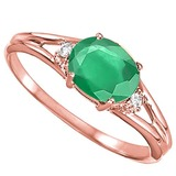 0.43 CARAT EMERALD & 0.02 CTW DIAMOND 10KT SOLID RED GOLD RING
