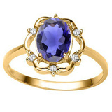 1.00 CT IOLITE AND ACCENT DIAMOND 0.02 CT 10KT SOLID YELLOW GOLD RING