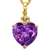 0.61 CTW AMETHYST 10K SOLID YELLOW GOLD HEART SHAPE PENDANT WITH ANCENT DIAMONDS