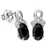 1 2/5 CTW SAPPHIRE & DIAMOND .925 STERLING SILVER EARRINGS