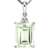 0.87 CTW GREEN AMETHYST 10K SOLID WHITE GOLD OCTWAGON SHAPE PENDANT WITH ANCENT DIAMONDS