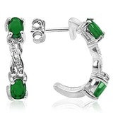 3/5 CTW EMERALD & DIAMOND .925 STERLING SILVER EARRINGS