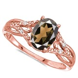 0.72 CARAT SMOKEY QUARTZ & 0.04 CTW DIAMOND 14KT SOLID RED GOLD RING