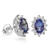 4/5 CTW TANZANITE & DIAMOND .925 STERLING SILVER EARRINGS