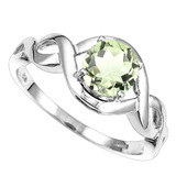 1.22 CT GREEN AMETHYST 10KT SOLID WHITE GOLD RING