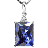 1.42 CTW CREATED TANZANITE 10K SOLID WHITE GOLD OCTWAGON SHAPE PENDANT WITH ANCENT DIAMONDS