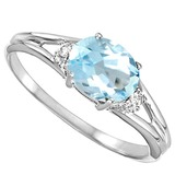 0.48 CARAT SKY BLUE TOPAZ & 0.02 CTW DIAMOND 10KT SOLID WHITE GOLD RING