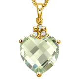 0.65 CTW GREEN AMETHYST 10K SOLID YELLOW GOLD HEART SHAPE PENDANT WITH ANCENT DIAMONDS
