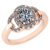 Certified 1.63 Ctw Diamond VS/SI1 Halo Ring For 14K Rose Gold
