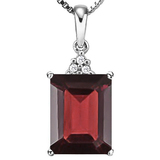 1.01 CTW GARNET 10K SOLID WHITE GOLD OCTWAGON SHAPE PENDANT WITH ANCENT DIAMONDS