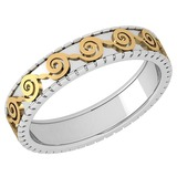 Stunning Filigree Engagement Band 18K White And Yellow Gold MADE IN ITALY