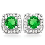 PRECIOUS 1 1/5 CTW CREATED EMERALD & 1/2 CTW (48 PCS) FLAWLESS CREATED DIAMOND .925 STERLING SILVER
