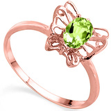 0.52 CT PERIDOT AND ACCENT DIAMOND 0.005 CT 10KT SOLID RED GOLD RING